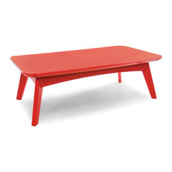 Loll Designs - Satellite Cocktail Table Rectangle, Apple Red - In the context of outdoor lounging, a Loll Satellite accent table is a recycled polyethylene object placed into orbit around humans resting in Loll Furniture. Unlike the moon, the Loll Satellite Table actually rotates in conjunction with the Earth and her inhabitants, at just over 1,000 miles per hour, but appears to be sitting still. We think it's time for you to have your very own Satellite... perfect for star gazing on black nights with warm breezes and cold drinks. All Loll Satellite Tables are made with heavy 1 inch thick 100 percent recycled plastic.