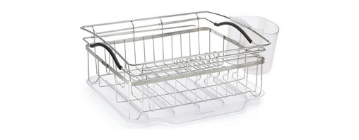 """POLDER - Compact Dish Rack, Stainless Steel, 3-piece Set - Update you kitchen with our 3-piece compact dish rack, it is constructed of brushed 18/8 stainless steel and has arms that expand to 24.5"""" to allow for over the sink dripping and drying. A large dual compartment utensil holder takes care of your silverware and converts to a storage compartment for the glass washing station."""