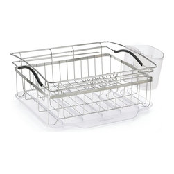 "POLDER - Compact Dish Rack, Stainless Steel, 3-piece Set - Update you kitchen with our 3-piece compact dish rack, it is constructed of brushed 18/8 stainless steel and has arms that expand to 24.5"" to allow for over the sink dripping and drying. A large dual compartment utensil holder takes care of your silverware and converts to a storage compartment for the glass washing station."