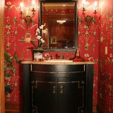 Traditional Powder Room Chinoiserie Powder Room