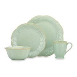 Lenox - Lenox French Perle 4-Piece Place Setting in Ice Blue - An icy cool blue color is combined with a carved beaded motif of scrolls and jewel-like elements to dress up this beautiful dinnerware. Constructed from stoneware, this elegant dinnerware is perfect for both formal and casual dining occasions.