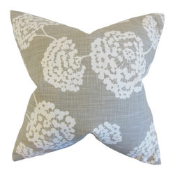 """The Pillow Collection - Rafiq Floral Pillow, Light Grey 18"""" x 18"""" - This plush accessory showcase a floral pattern in shades of white against a light grey background."""