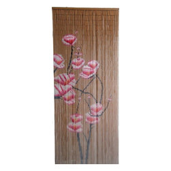 "Bamboo54 - Bamboo Pink Flowers Scene - Bamboo54 pink flowers scene is made from authentic bamboo and hand strung. One curtain contains 90 strands across and is the perfect door hanging accessory. Hand painted on both sides. Measures approximately 36"" x 80"""