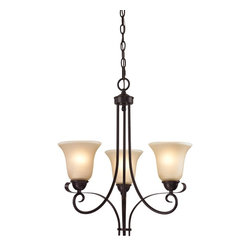 Cornerstone - 1003CH/10-LED Cornerstone Brighton Chandelier - As a part of the Brighton Collection this Oil Rubbed Bronze Finish and a CafE Tint Glass Three Light Chandelier provides elegance and style to any home. Replacement Glass # G1003. Additional Chain # P1001.