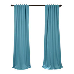 "Exclusive Fabrics & Furnishings - Turquoise Blue Blackout Curtain - SOLD PER PANEL. 100% Polyester. 3"" Pole Pocket with  Back Tabs. Unlined. Imported. Weighted Hem. Dry Clean Only."