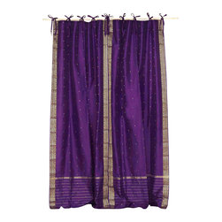 Indian Selections - Pair of Purple Tie Top Sheer Sari Curtains, 43 X 84 In. - Size of each curtain: 43 Inches wide X 84 Inches drop