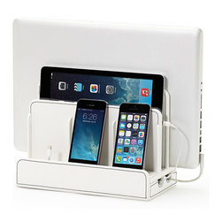 Great Useful Stuff - Faux Leather Multi-Charging Station, White - Keep all your portable gadgets charged and organized with the brand new Multi-Charging Station. With room for a laptop, tablet and up to 3 other devices this sturdy stand holds and hides unsightly cords. A magnetic base flips open to reveal a hidden storage compartment for wires that otherwise clutter up your desk space. No real techie will want to be without this essential accessory! Available in black or brown faux leather.