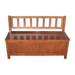 Simpli Home - Artisan Entryway Bench - Flip up lid reveals a large storage compartment for shoes and other items. Made from Plantation-grown pine. Finished with a durable lacquer top coat. Finish: Medium Auburn. Material: Pinewood. Assembly Required. 48 in. L x 17 in. W x 30.5 in. H ( 45 lbs. )