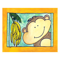 Oh How Cute Kids by Serena Bowman - Here's Looking at You - Monkey, Ready To Hang Canvas Kid's Wall Decor, 24 X 30 - Who's looking at you?  Mr. Monkey, that's who!