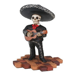 Summit - Short Skeleton Skull Black Mariachi Band Guitar Statue Figurine - This gorgeous Short Skeleton Skull Black Mariachi Band Guitar Statue Figurine has the finest details and highest quality you will find anywhere! Short Skeleton Skull Black Mariachi Band Guitar Statue Figurine is truly remarkable.