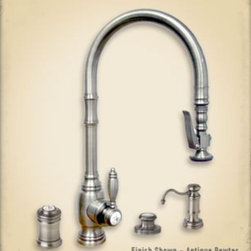 "5500-4 Waterstone PLP Traditional Suite - Traditional Style Pulldown Extended Reach Kitchen Faucet Mini Suite. Includes Soap/Lotion Dispenser, Air switch and single port Air Gap. Unique PLP positive lock holds spray head in place. Spray head extends 18"" from spout. Single lever control hot/cold ceramic disk valve cartridge. 21 3/4"" x 10 1/8"". Shown in Antique Pewter"