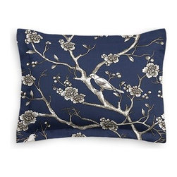 Blue Modern Chinoiserie Custom Sham - The Simple Sham may be basic, but it won't be boring!  Layer these luxurious reversible shams in various styles for a bed you'll want to fall right into. We love it in this dark blue and white modern chinoiserie print with blossoms and birds branching out across a soft lightweight cotton.