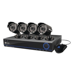 Swann - 3200s 4-Channel 960H DVR, 500GB HDD and 4 Cameras at 700TVL Kit - Model No. SWDVK-432004S. Blue-lit 960H DVR with real-time, widescreen high-resolution live video viewing & playback. Perfect for 16:9 monitors . Includes 4 high-resolution cameras with powerful night vision . Includes 60ft coaxial cable per camera. Set & forget by recording continuously from 4 channels for 30 days+ onto a 500GB hard drive, even longer with motion detection . Extra capacity by connecting external hard drive to eSATA port. Easily locates incident video & transfers to external storage via USB or network. Live or playback viewing in high resolution on HDTV, LCD or plasma TV using HDMI connection or on LCD screen via VGA port. Customizable network configuration & DDNS service. Live viewing on 3G/4G-enabled smartphones & tablets, including iPhone, iPad, Android devices, BlackBerry devices & more through free appThe Swann SWDVK-432004S-US includes a blue-lit 960h DVR with real-time, widescreen high resolution live video viewing & playback which is perfect for 16:9 monitors and 4 high resolution cameras with powerful night vision. Set and forget by recording continuously from 4 channels for 30 days+ onto a 500 GB hard drive, even longer with motion detection for extra capacity connect external hard drive to e-sata port. Live or playback viewing in high resolution on HDTV, LCD or plasma TV using HDMI connection or on LCD screen via VGA port. The free Swann app allows live viewing on 3g/4g-enabled smartphones & tablets including, iPhone, iPad, Android devices, Blackberry devices.