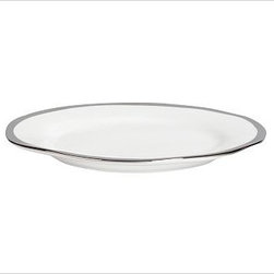 "Caroline Porcelain Salad Plate, Set of 4, Silver - Make a celebration even more memorable with a thoughtful gift. Handcrafted with gently uneven rims, our new Caroline Registry dinnerware has understated glamour that's just right for both formal and casual settings. We've wrapped it in a beautiful gift box so it's ready for giving on any special occasion. Dinner Plate: 11"" diameter, 1"" high Salad Plate: 8.5"" diameter, 1"" high Bowl: 9"" diameter, 2"" high; 5.5 fluid ounces Cup: 4.5"" wide x 3.5"" deep x 3"" high Saucer: 6"" diameter Made of porcelain with a glazed finish. Silver trim. Set of 4, choose dinner plate, salad plate, or cup-and-saucer set. Packaged in a beautiful PB storage box. Dishwasher-safe. Read more on our blog about the inspiration behind this product."