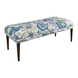 Skyline Furniture MFG. - Tufted Bench - You might have to sit down for this. With its bright pattern and modern design, this diamond-tufted bench adds a dizzying amount of elegance to your classic or contemporary decor. Crafted from solid pine, its elongated rectangular shape and exquisite upholstery detail make it an unforgettable addition to your entryway.