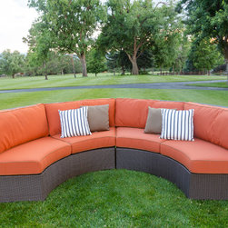 All Backyard Fun - Curved Sofa Sectional Two Piece Set with Sunbrella Fabric, Canvas Rust - This wicker curved sofa from brings elegance, comfort, and durability to your outdoor seating area with a Chocolate colored resin wicker finish hand woven over heavy duty commercial grade, rust proof powder coated aluminum frames. This stunning modern wicker sofa sectional is made to last in any indoor or outdoor area and you will be sure to spend hours relaxing in its stylish and comfortable deep seating Sunbrella cushions.