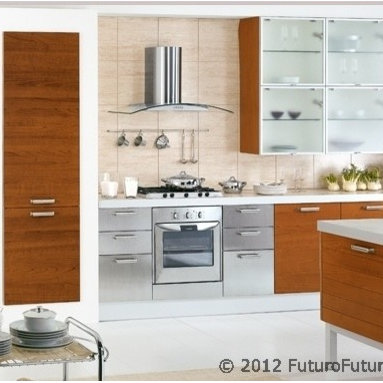 """Designer Range Hoods - """"Moon Crystal"""" Series - The """"Moon Crystal"""" designer range hoods from Futuro Futuro offer a modern vision of kitchen ventilation, with a curved tempered-glass panel and stainless steel body. Available in island and wall versions, 24"""", 30"""", 36"""", and 42"""" widths. Made in Italy from highest-grade AISI 304 stainless steel. For complete product information, including current prices & stock status, please visit www.FuturoFuturo.com, or call 1-800-230-3565."""