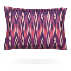 """Kess InHouse - Amanda Lane """"Purple Ikat"""" Pink Lavender Pillow Sham (Woven, 30"""" x 20"""") - Pairing your already chic duvet cover with playful pillow shams is the perfect way to tie your bedroom together. There are endless possibilities to feed your artistic palette with these imaginative pillow shams. It will looks so elegant you won't want ruin the masterpiece you have created when you go to bed. Not only are these pillow shams nice to look at they are also made from a high quality cotton blend. They are so soft that they will elevate your sleep up to level that is beyond Cloud 9. We always print our goods with the highest quality printing process in order to maintain the integrity of the art that you are adeptly displaying. This means that you won't have to worry about your art fading or your sham loosing it's freshness."""