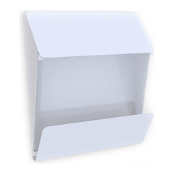 Decorpro - X Press Mail Box in a White Finish - Decorpro has combined steel and glass into a beautiful functional X Press mailbox. Designed for ease of use for you and the postman. This mailbox has a clear window to see if mail has arrived. As well, it has an extra large overhang to keep the daily newspaper dry. Made of steel and 8 mm thick piece of glass. This mailbox will be a great addition to your home for many years to come.