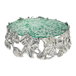 Arthur Court - Magnolia Cake Pedestal Tray - Wash by hand with mild dish soap and dry immediately. Product not intended as cookware. Can withstand 350 F. Refrigerator and freezer safe.