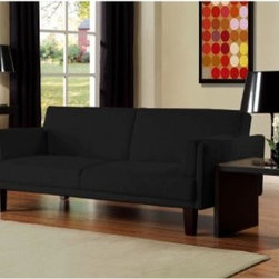 Ameriwood Metro Futon - Black - Grace any room with the modernly elegant Ameriwood Metro Futon - Black. It easily switches from sitting to sleeping positions, which lets you enjoy this piece from day to night. Clad in soft, black microfiber, it looks great anywhere and is a breeze to clean.DimensionsSofa position: 74L x 29.5W x 33H inchesBed positi