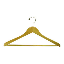 Proman Products - Proman Products Gemini Concave Suit Hanger with Wooden Bar in Natural Lacquer - Gemini-concave suit hanger with Wooden bar, natural lacquer, chrome, 50 pcs/Case