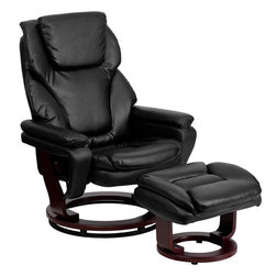 Flash Furniture - Black Leather Recliner and Ottoman with Swiveling Mahogany Wood Base - There's no better way to enjoy a movie, a book or just some down time than in a recliner. This set features thickly padded arms and tastefully exposed wood frames. This uniquely designed recliner features a ball-bearing swiveling base that makes swiveling effortless. This set is not only perfect in the home, but makes for a great addition in the office. The durable leather upholstery allows for easy cleaning and regular care.