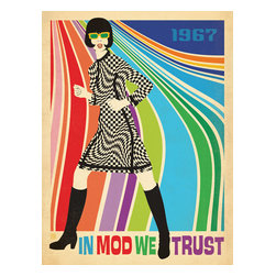 """Anderson Design Group - The Mod Collection: Go-Go Dancer Gallery Print - 1967 was quite a year for Go-Go Dancing. Back then, nothing said """"In Mod We Trust"""" better than a pair of knee-high black go-go boots! So it is today. If you can't wear them and shake it like it's 1967, you can still decorate that way with this colorful modern print! Original, hand-illustrated design from Anderson Design Group in Nashville, TN."""