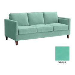 Apt2B - Anderson Sofa, 60s Blue - Like America's favorite news personality, the Anderson is clean cut and straightforward at first, but once you get to know it a little better, it has a pretty snappy personality. Dress this one up any way you like too- throw a couple of pillows on this bad boy for a really special look!
