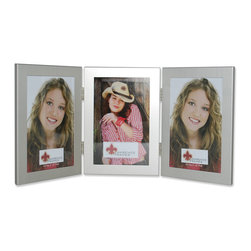Lawrence Frames - 4x6 Hinged Double Metal Picture Frame, Silver, 4x6 Hinged Triple - Contemporary brushed satin silver aluminum metal picture frame.  Beautiful black velvet backing for table top display.  High quality 4x6 hinged triple metal picture frame is made with exceptional workmanship and comes individually boxed.