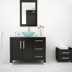 """39.5"""" Crater Glass Bathroom Vanity - This stunning yet simple modern bath vanity exudes charm and sophistication. It is an elegant addition to any modern home or any professional salon, featuring one of the most space-efficient vanity designs available! Constructed from solid natural oak, the vanity is built to last. The tempered, glass basin is mounted directly on the countertop, which opens up ample storage space beneath the sink. Three sliding drawers with soft-close technology prevent damage to the vanity and also provide you with plenty of room to keep your bathroom necessities. The large cabinet is an excellent place to store towels, cleaning supplies, and toiletries. Brushed steel accents truly distinguish this vanity and provide a stark visual contrast in your bathroom; indeed, this excellent vanity is as beautiful as it is useful. Find the modern faucet of your choice and a lovely vanity mirror to complete the set!"""
