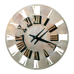 """Factory Direct Wall Decor - Roman Retro Wall Clock - The Roman Retro Clock is a beautiful clock with a contemporary feel. It's measurements are 22""""W x 22""""H x 3"""" in Depth. This item weighs approximately 10 lbs, and requires one AA battery."""