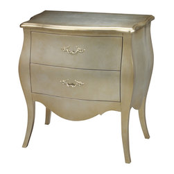 Sterling Industries - Sterling Industries 6041450 Romana Bowfront Chest - The Traditional Bombe Chest Has Never Looked So Elegant And Ready For Today'S Home.  Hand Covered In Silver Leaf And Finished With A Hint Of Gold, The Romana Bowfront Is A New Classic.  Two Deep Drawers With Nicely Curved Metal Pulls In Matching Faux Fini  Chest (1)