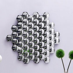 """dCOR design - Honeycomb Mirror - Features: -Color: Clear. -With many facets and angles. -Handcrafted with a solid back and dual wires for multiple hanging positions. -High quality. -Modern design. Specifications: -Overall Dimensions: 31.5"""" Height x 35.2"""" Width x 1"""" Depth."""