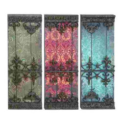 UMA - Orleans Wall Grilles Set of 3 - Three French style metal wall grilles with provincial style backdrops that resemble vintage wallpaper