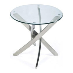 Magnussen Zilla Round End Table - Sleek, modern, and practical, the Magnussen Zilla Round End Table is the perfect chair side addition. Four metal legs are finished in contemporary brushed nickel and twisted for dramatic appeal. The round, clear glass top completes the look nicely.About Magnussen FurnitureFrom its beginning as a small furniture company in Ontario, Canada, Magnussen Furniture has evolved into a full-line furniture resource with offices in Canada, the United States, and the Far East. Their business is creating furniture designs of exceptional style, value, and beauty. They produce these designs in partnership with manufacturing partners around the world that meet exacting standards for superior quality at the best possible value.