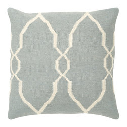 """Surya - Diamond Pattern Square Pillow FA-022 - 18"""" x 18"""" - A stylish, diamond design gives this pillow it's fashionable design. Colors of sky blue and ivory accent this decorative pillow. This pillow contains a poly fill and a zipper closure. Add this pillow to your collection today."""