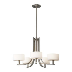 Murray Feiss - Murray Feiss Sunset Drive Transitional Chandelier X-SB5/5042F - Clean lines and contemporary curves have been blended together for an updated yet subtly retro look to this Murray Feiss chandelier. From the Sunset Drive Collection, it features a stylish Brushed Steel finish that compliments the contrasting satin tones of the five white opal etched glass shades.