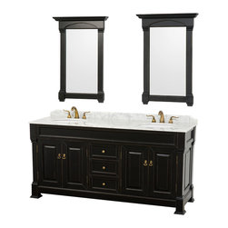 Wyndham Collection - Andover Bathroom Vanity in Antique Black, White Carrera Top, White UM Sinks - A new edition to the Wyndham Collection, the beautiful Andover bathroom vanity series represents an updated take on traditional styling. The Andover is a keystone piece, with strong, classic lines and an attention to detail. The vanity and solid marble countertop are hand carved and stained. Available in Black, White and Dark Cherry finishes to match any decor. Available in a range of single or double vanity sizes to fit any bathroom.
