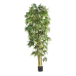 None - 8-foot Biggy Style Bamboo Tree - Give any space a lush makeover with this faux tropical bamboo tree. The 8-foot biggy style bamboo tree features thousands of leaves,natural bamboo trunks and a rich green appeal.