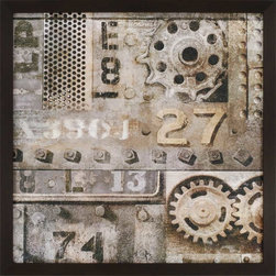 Paragon Decor - Industrial II Artwork - Rivets and gears leave the factory and become a decorative piece for the home.  Print is textured and framed in dark wood finish molding.