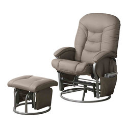 """Adarn Inc - Casual Leatherette Glider Recliner with Matching Ottoman Set, Beige - This glider recliner with matching ottoman instantly makes any room in your home more inviting. A plush padded back and pillow arms invites you to sit back and recline in style. The matching ottoman offers the same plush seat and gliding functionality of the chair. A hanging bag keeps magazines, books, remotes and eyeglasses close at hand for added convenience. Your choice of black or beige leatherette lets you choose an upholstery finish that blends seamlessly with your decor.Ottoman:17""""L x 18""""W x 14.5""""H"""