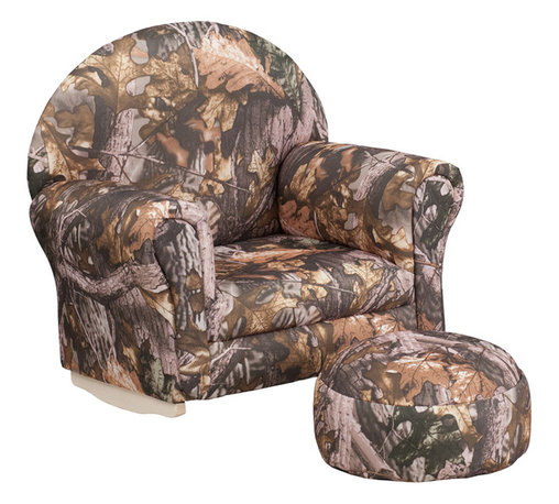 Flash Furniture - Flash Furniture Kids Camouflage Fabric Rocker Chair and Footrest - Kids will now get to enjoy furniture designed specifically for their size! This charming set is sure to become your child's favorite chair. The rocker base will allow kids to gently rock while watching TV or reading their favorite book. This portable chair is great for seating in any room. The durable fabric upholstery will hold up against your active child.