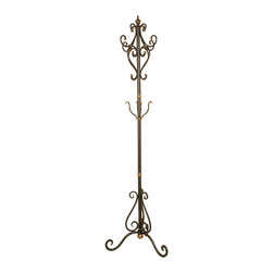 Welcome Home Accents - Scrolled Oil Rubbed Bronze Coat Tree - Scrolling metal entryway coat & hat rack has an oil rubbed bronze finish with black antiquing and copper highlights. Scrolling frame features numerous hooks for ample room to hold coats, umbrellas, purses, scarves, etc. making this attractive classic a great addition to any foyer, hall or entryway. This durable coat rack adds style as convenient storage for your home. The tripod base gives the tree excellent stability. Assembly required. Dust with a dry cloth.