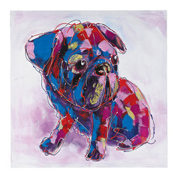 Sterling Industries - Bold Puppy I Oversized Oil on Canvas - Bold puppy I - oversized oil on canvas by Sterling Industries