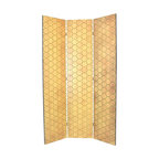 Wayborn - Wayborn Hand Painted Honeycomb Room Divider in Ivory/GoldN - Wayborn - Room Dividers - 2375 - Wayborn hand painted screens start with a cedar plywood frame covered in a cheesecloth material. Then layer after layer of plaster is applied; each layer must dry before another layer can be applied. After all the plaster has been applied several coats of lacquer is put over the entire surface. At that time the artist begins to sketch out the painting directly on the panels of the screen and begins painting the design with water based paint.  Each one of these screens has its own characteristics and is truly a work of art.