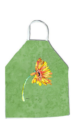 """Caroline's Treasures - Gerber Daisy Orange Apron - Apron, Bib Style, 27""""H x 31""""W; 100% Ultra Spun Poly, White, braided nylon tie straps, sewn cloth neckband. These bib style aprons are not just for cooking - they are also great for cleaning, gardening, art projects, and other activities, too!"""
