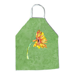 "Caroline's Treasures - Gerber Daisy Orange Apron - Apron, Bib Style, 27""H x 31""W; 100% Ultra Spun Poly, White, braided nylon tie straps, sewn cloth neckband. These bib style aprons are not just for cooking - they are also great for cleaning, gardening, art projects, and other activities, too!"