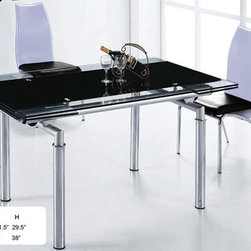 "Extendable Wood and Black Glass Top Leather Complete Dining Room Sets with Leaf - Black table set with two tone four side chairs with high back. This very practical and stylish dining room table set provides the additional space with extension leaf which extends the table surface up to 79""."