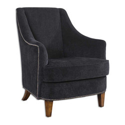 "Uttermost - Uttermost Nala Armchair in Midnight Black Plush Fabric - Armchair in Midnight Black Plush Fabric belongs to Nala Collection by Uttermost Midnight black lounge chair has plush fabric with subtle swirl sculpting, nail head trim and sunwashed pecan finished legs. Reinforced hardwood construction with removable seat cushion. Light assembly. Seat height is 19"". Arm Chair (1)"
